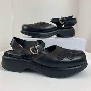 Dansko Embroidered Black Leather Ankle Strap Clogs